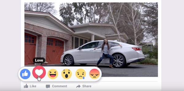 Comercial envolvendo as novas reações do Facebook